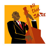 Retro  jazz music concept, double bass man Royalty Free Stock Images