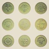 Retro Jeden spojrzenia Funtowa moneta Obrazy Stock