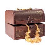 Retro jewelry box for women. Isolated on white background Stock Photos