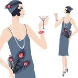 Retro jong mooi meisje van jaren '20stijl vector illustratie
