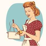 Retro jonge vrouw in retro kleren die soep koken stock illustratie