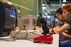 Retro joystick at Games Week 2014 in Milan, Italy Royalty Free Stock Photography