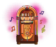 Retro Jukebox. On colorful background with music notes flying around vector illustration