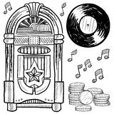 Retro jukebox and vinyl LP sketch Stock Photo