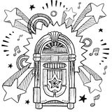 Retro jukebox and vinyl LP sketch. Doodle style retro jukebox with vinyl record, coins, and musical notes vector illustration