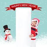 Retro jul på blå bakgrund Arkivbild