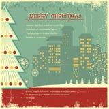 Retro julaffisch. Vektorstad i ferie på nolla royaltyfri illustrationer
