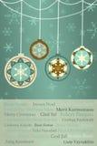 Retro julbakgrund med julhälsningar i många språk Arkivbild