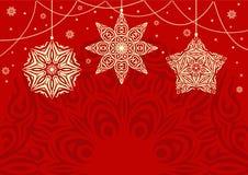 Retro julbakgrund med vita snöflingor Hand-drog konturlinjer och slaglängder Royaltyfri Bild