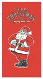Retro julkort för tappning Gammalmodiga Santa Claus som ler på den röda bakgrunden Arkivfoto