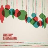 Retro julkort med julgarneringar stock illustrationer
