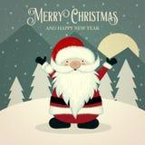 Retro jultomtenaffisch vektor illustrationer