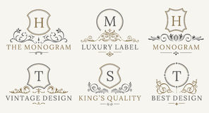Retro- königlicher Weinlese-Schild-Firmenzeichensatz Vektor calligraphyc Luxuslogogestaltungselemente Geschäfts-Zeichen, Logos Stockbild