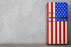 Retro Us Kühlschrank : Kühlschrank d mit amerikanischer flagge stockfoto bild von diät