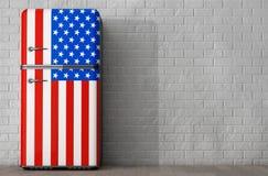 Kühlschrank Usa Retro : Retro kühlschrank mit der usa flagge wiedergabe 3d stock abbildung