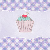 Retro kaart met cupcake. EPS 8 Stock Afbeelding