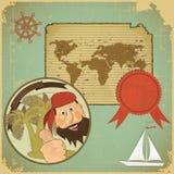 Retro kaart - piraat en wereldkaart Stock Afbeeldingen