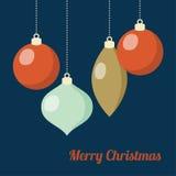 Retro kaart van de Kerstmisgroet, uitnodiging De hangende ballen van Kerstmis Vlak Ontwerp Vector illustratieachtergrond royalty-vrije illustratie