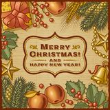 Retro Kaart van Kerstmis Royalty-vrije Stock Afbeelding