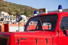 Retro kabin för brandlastbil Fotografering för Bildbyråer