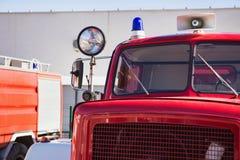 Retro kabin för brandlastbil Arkivbilder