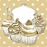Retro kader met cupcake Royalty-vrije Stock Foto's