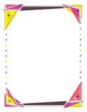 Retro kaderontwerp die driehoeken en cirkellichten kenmerken Stock Afbeeldingen