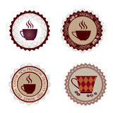 Retro- Kaffee-Aufkleber. Vektor-Illustrations-Paket. Stockfoto