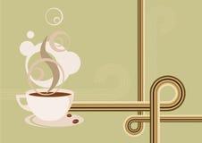 Retro- Kaffee-heißes Cup-Bohnen-Plakat Vektor Abbildung