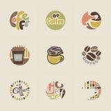 Retro Kaffeeembleme. Set Vektoren Stockfotos