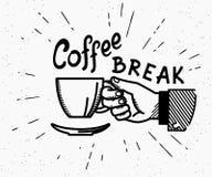 Retro- Kaffeepause machte Illustration in Handarbeit Stockfoto