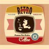 Retro kaffeetikett Royaltyfria Bilder