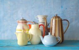Retro kaffekrukor royaltyfria bilder