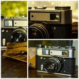 Retro- Kamera der Collagenbild-Sammlung Lizenzfreie Stockfotografie
