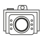 Retro- Kamera lokalisiertes Ikonendesign Stockbilder