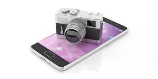 Retro kamera na telefonie komórkowym, odizolowywającym na białym tle, 3d ilustracja royalty ilustracja