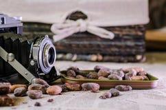 Retro kamera- och kakaobönor Royaltyfri Bild