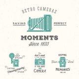 Retro kamerafotografiuppsättning Vektoretiketter eller Royaltyfri Bild