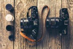 Retro- Kameras und Fotos Stockbilder