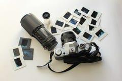 Retro kamerauppsättning för fotografi royaltyfri bild
