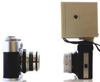 Retro kamery odizolowywać obrazy stock
