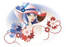 retro kapeluszowa dama Zdjęcie Stock