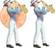 Retro karakter van het musicusbeeldverhaal Stock Foto's