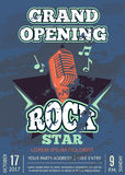 Retro karaoke club, audio record studio poster with shabby music logo with microphone and star on grunge texture. Banner grand opening with microphone vector illustration