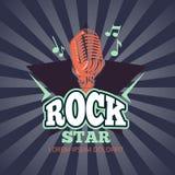 Retro karaoke music club, audio record studio vector logo, badge with microphone and star on sunburst background Stock Photo