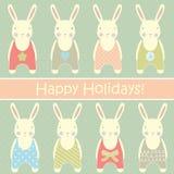 retro karciani króliki ilustracji