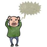 Retro- Karikatur betonter heraus kahler Mann Lizenzfreie Stockbilder