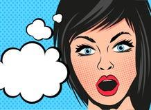 Retro- Karikatur-Frauen-Ausdruck Lizenzfreies Stockfoto