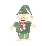 Retro- Karikatur wenig Weihnachtselfe Lizenzfreie Stockfotografie