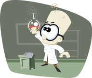 Retro- Karikatur-Wissenschafts-Professor mit Glasschüssel Lizenzfreies Stockfoto
